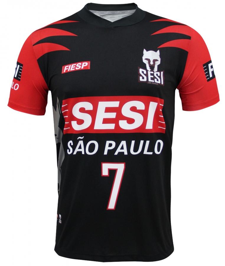 29a9cc644 Camisa Vôlei SESI SP Masculino Preta Nº7